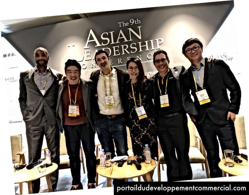 Val sur scène avec Patrick (QTUM), Lance (NEM), Oscar (Chinaccelerator), Rik (Groupe Agentic) et Sungjae (FoundationX) pour discuter de crypto, économie de jetons et ICO à la conférence Asian Leadership Conference à Séoul