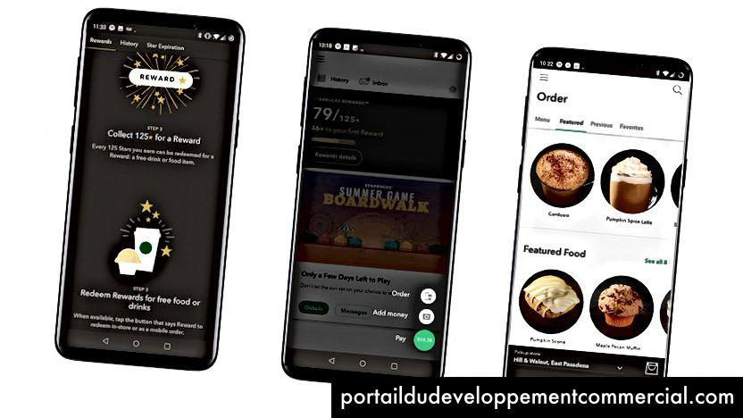 स्टारबक्स मोबाइल ऐप मोबाइल ऑर्डरिंग और भुगतान प्रदान करता है। यह एक गेम-आधारित वफादारी कार्यक्रम भी प्रदान करता है।