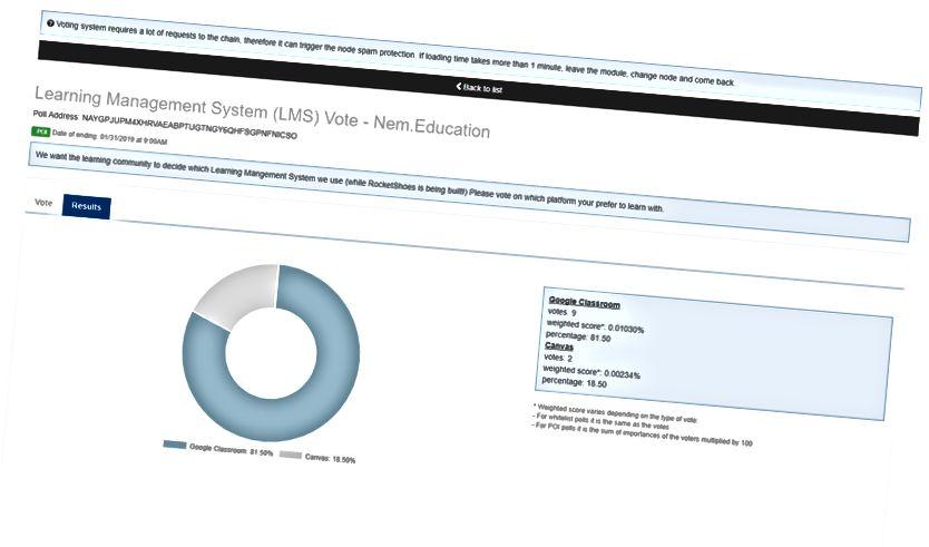 学習管理システム(LMS)投票— Nem.Education Poll住所:NAYGPJUPM4XHRVAEABPTUGTNGY6QHFSGPNFNICSO