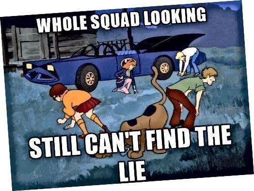 Foto siger: hele holdet ser ud, kan stadig ikke finde løgnen (Scooby Doo-tegn)