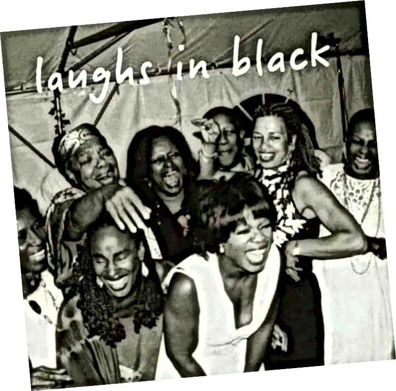 Gruppe af sorte kvindes ikoner, der griner hjerteligt