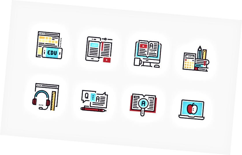 Online uddannelses- og e-learning ikonpakke af Maxim Basinski
