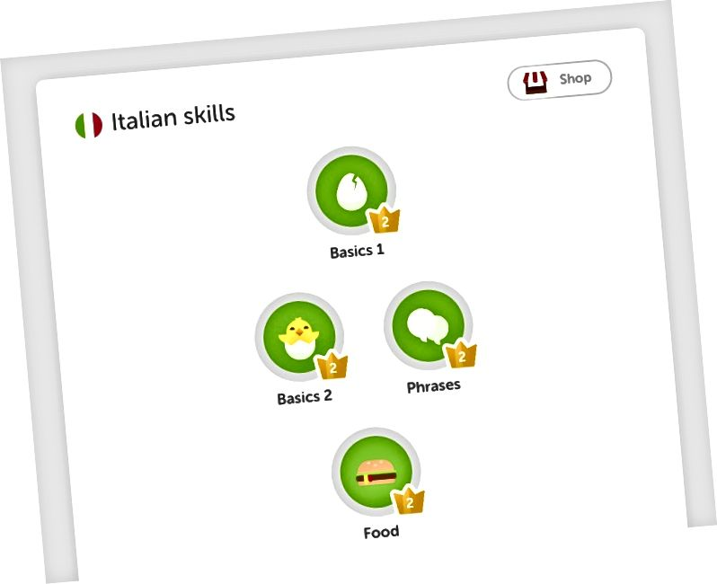 Screenshot von Duolingo