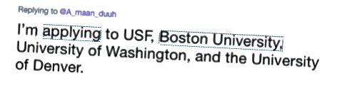 Ovenstående post er fra en potentiel studerende, der nævner, at de planlægger at ansøge om BU sammen med andre skoler, skønt ingen af skolens konti er nævnt.