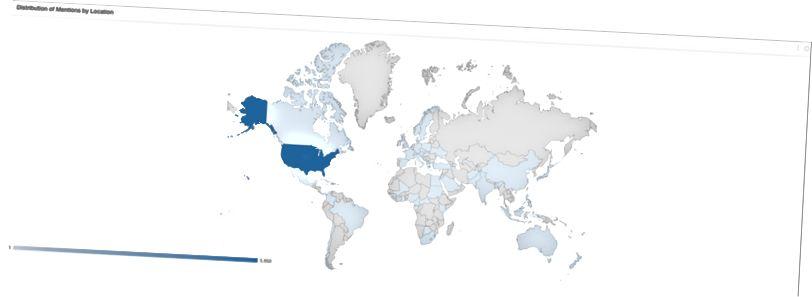 Eksempel på geografisk fordeling af omtaler fra social lytter