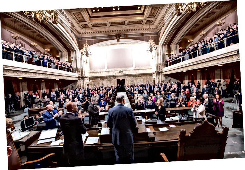 Gouverneur Jay Inslee übermittelte am 14. Januar 2019 seine Adresse für den Bundesstaat. (Foto mit freundlicher Genehmigung der Legislative Support Services)