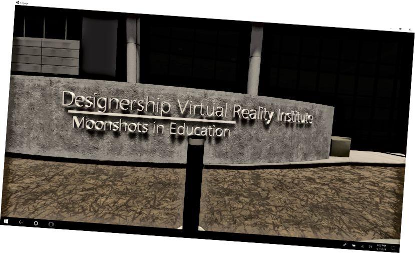 Esta es la vista exterior de la primera escuela de realidad virtual del mundo diseñada por dos estudiantes de secundaria, Omid y Farrukh, en su laboratorio de diseño de la luna con Woj y Freedom en Oracle.