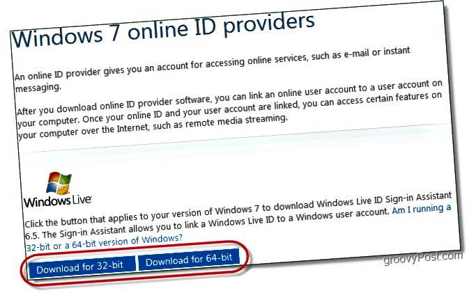 halaðu niður aðstoðarmann Windows 7 Live ID innskráningaraðila