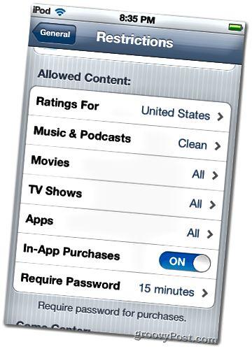 Takmarkanir iPod snerta