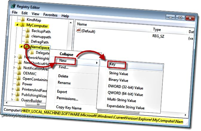 Fügen Sie dem NameSpace-Schlüssel in Windows 7 einen neuen Unterschlüssel hinzu