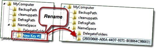 Benennen Sie einen Registrierungsschlüssel in Windows 7 um