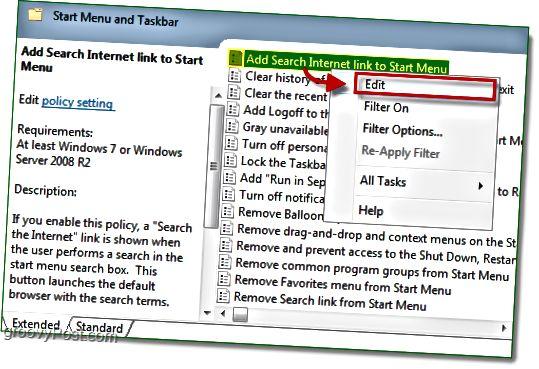 Napsauta Lisää haku -linkkiä aloittaaksesi valikon ja napsauta sitten muokkausvaihtoehtoa Windows 7: n hiiren kakkospainikkeella pikavalikossa