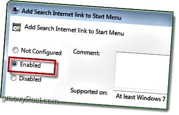 tarkista käytössä oleva valintanappi, jotta windwos 7: n Käynnistä-valikon Internet-haku-linkki otetaan käyttöön lopettaaksesi