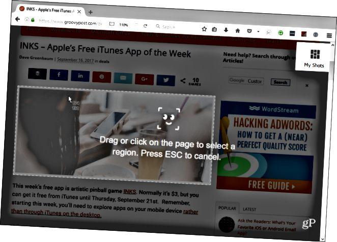 Εργαλείο Screenshot Firefox