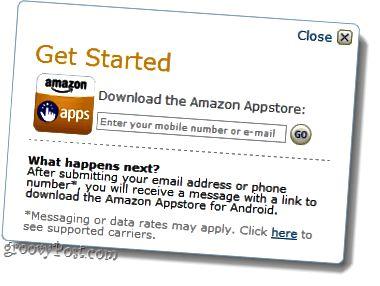 sláðu inn númer í Android Amazon app store