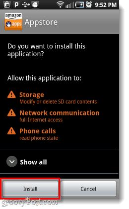 settu upp Amazon appstore Android