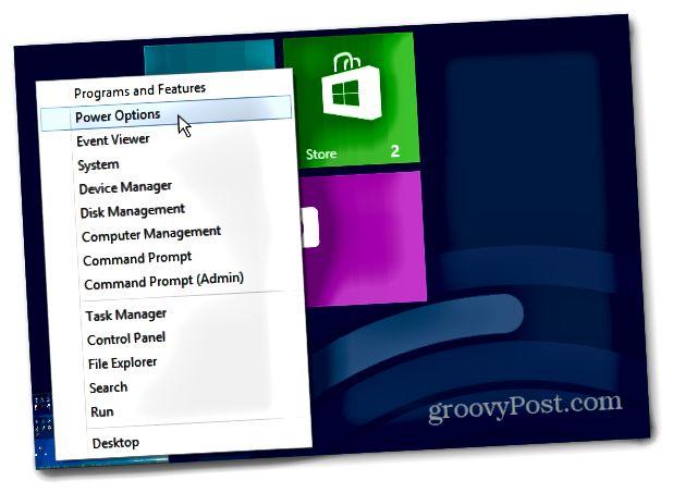 Power menu Windows 8 Οθόνη έναρξης