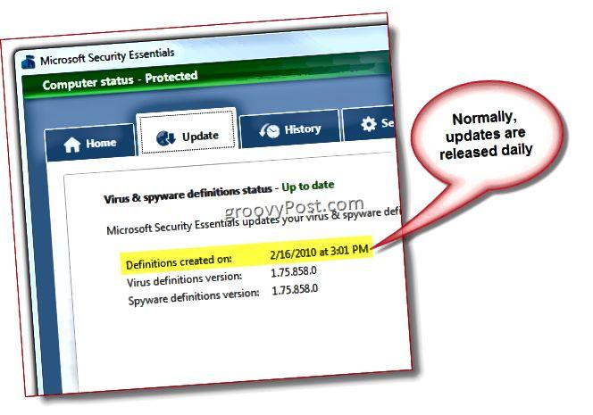 Microsoft Security Essentials - Screenshot aktualizace definic