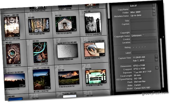 Screenshot der Adobe Lightroom 2-Metadaten
