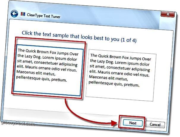 windows 7-də clearType kalibrləmə addımının 1-i
