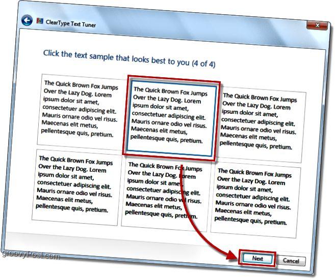 windows 7-də clearType kalibrləmə addımının 4 addımı