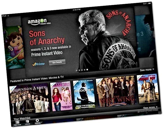 Amazonin pikavideo iPad -sovellus