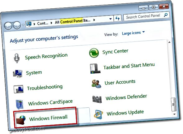 Öffnen Sie die Windows-Firewall in Windows 7 über das Bedienfeld