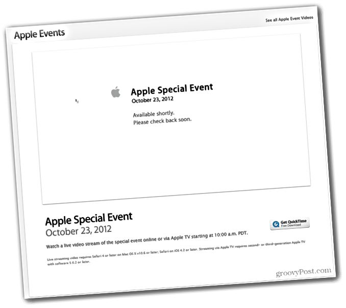 Apple Event 23 Οκτωβρίου 2012