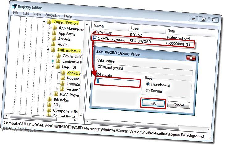 vyhledejte klíč registru systému Windows 7 s názvem HKEY_LOCAL_MACHINESOFTWAREMicrosoftWindowsCurrentVersionAuthenticationLogonUIBackground