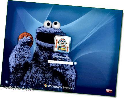 Windows 7 s mou oblíbenou sezamovou ulicí Cookie Monster pozadí