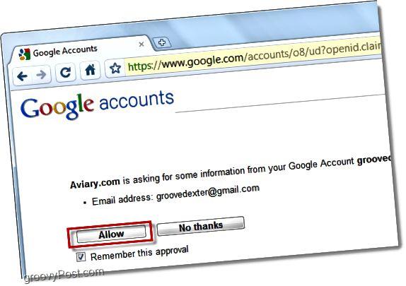 Verknüpfen Sie das Volierenkonto mit dem Google Mail-Konto
