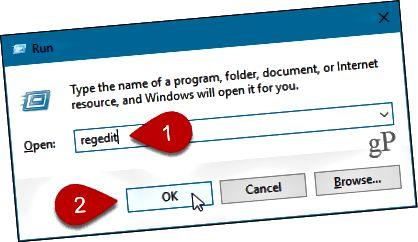 Otevřete Editor registru v systému Windows 10