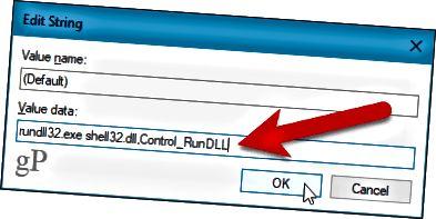 Dialogové okno Upravit řetězec v Editoru registru