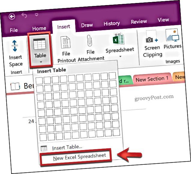 Vložte novou tabulku Excel do OneNote