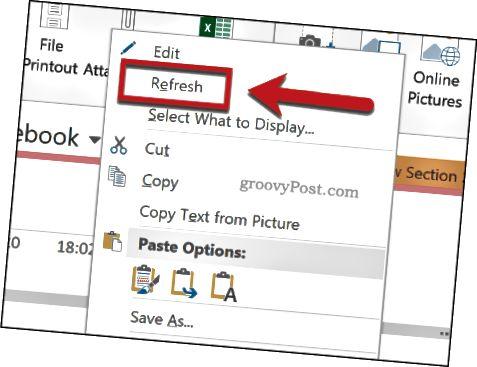 Aktualizace importované tabulky aplikace Excel v aplikaci OneNote