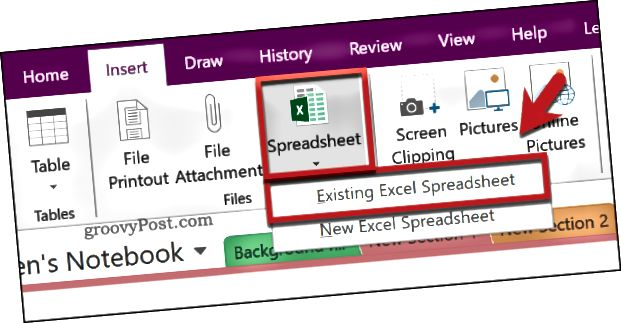 Vložení existující tabulky aplikace Excel do aplikace OneNote