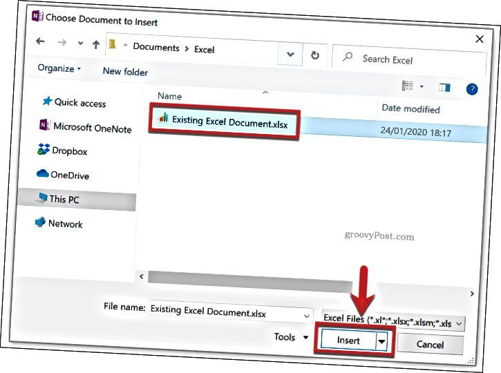 Výběr existujícího dokumentu Excel, který chcete vložit do OneNote