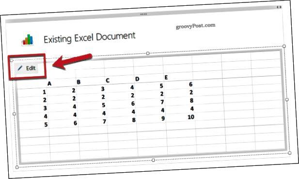 Úpravy existující tabulky aplikace Excel v aplikaci OneNote