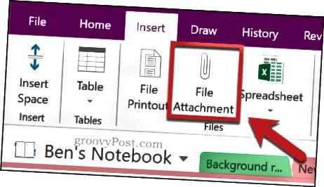 Vkládání dokumentu Excel jako přílohy k souboru v aplikaci OneNote