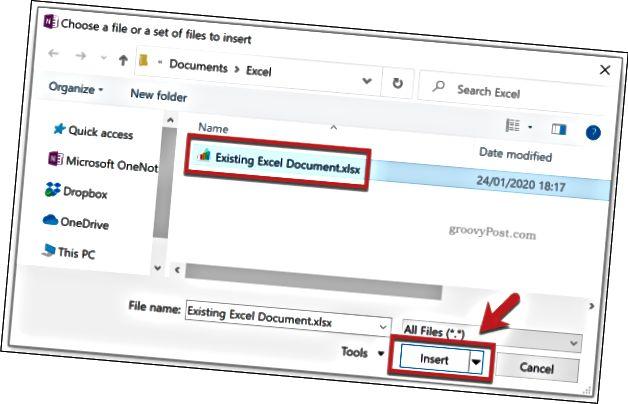 Přidání souboru Excel jako přílohy souboru v aplikaci OneNote