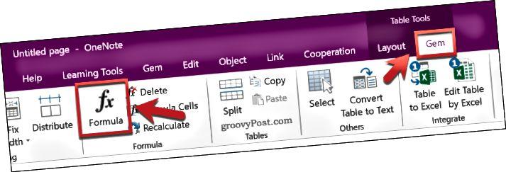 Vložení vzorce Excel pomocí doplňku Gem pro OneNote v OneNote