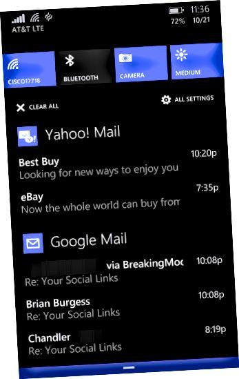 Windows Phone Fəaliyyət Mərkəzi