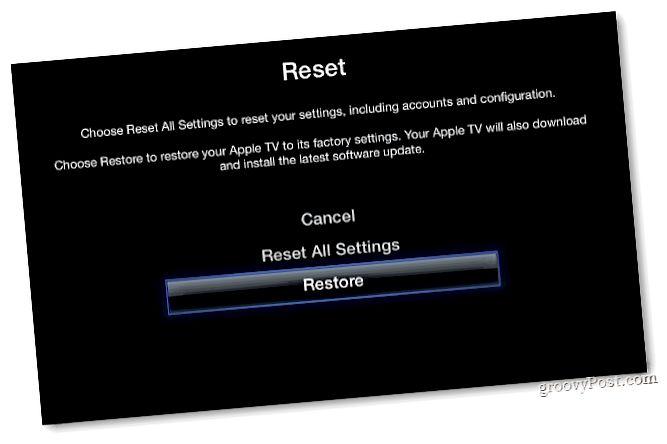 Apple TV zurücksetzen