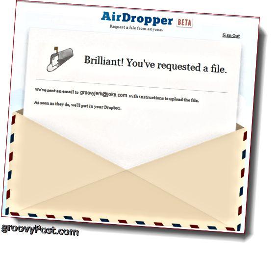 AirDropper Dropbox - Fayl göndərildi