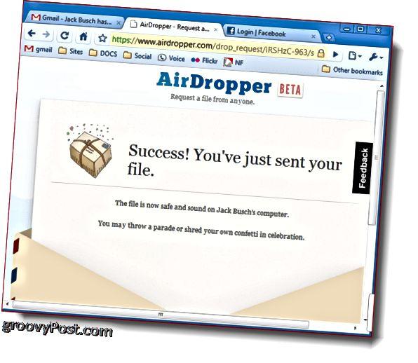 Dropbox Airdropper fotoşəkil görüntüsü uğur faylı göndərildi