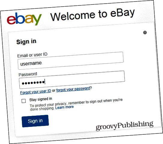 eBay αλλαγή σύνδεσης κωδικού πρόσβασης
