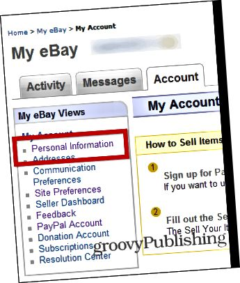 eBay αλλαγή προσωπικών πληροφοριών ρυθμίσεων λογαριασμού κωδικού πρόσβασης