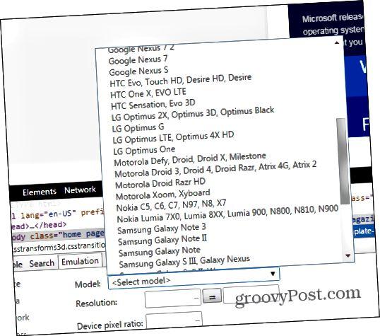 Chrome Developer Tools Emulationssensoren Gerät auswählen