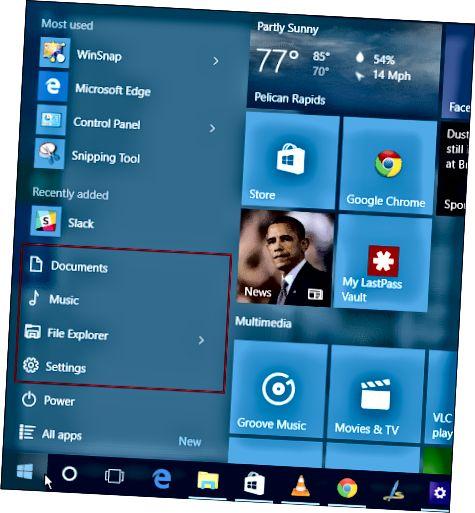 Windows 10 Başlat menyusu