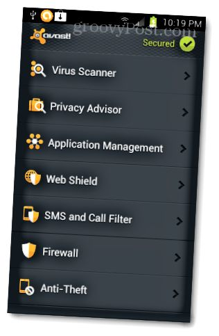 avast android interface